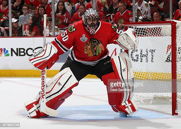 Goaltender Corey Crawford of the Chicago Blackhawks plays against the Tampa Bay Lightning in Game Six of the 2015 NHL Stanley Cup Final at the United...