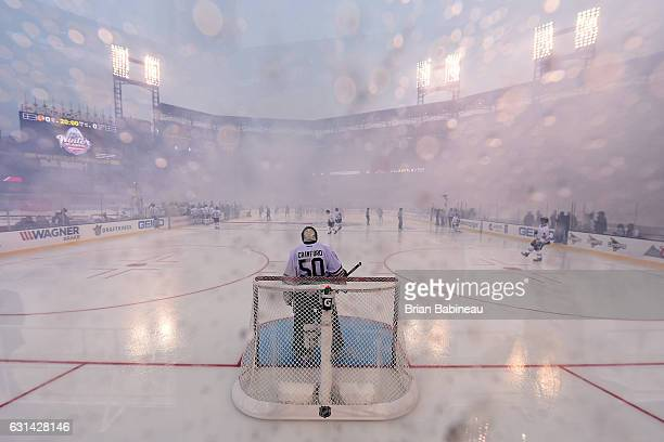 Goaltender Corey Crawford of the Chicago Blackhawks stands in his net prior to the 2017 Bridgestone NHL Winter Classic against the St Louis Blues at...