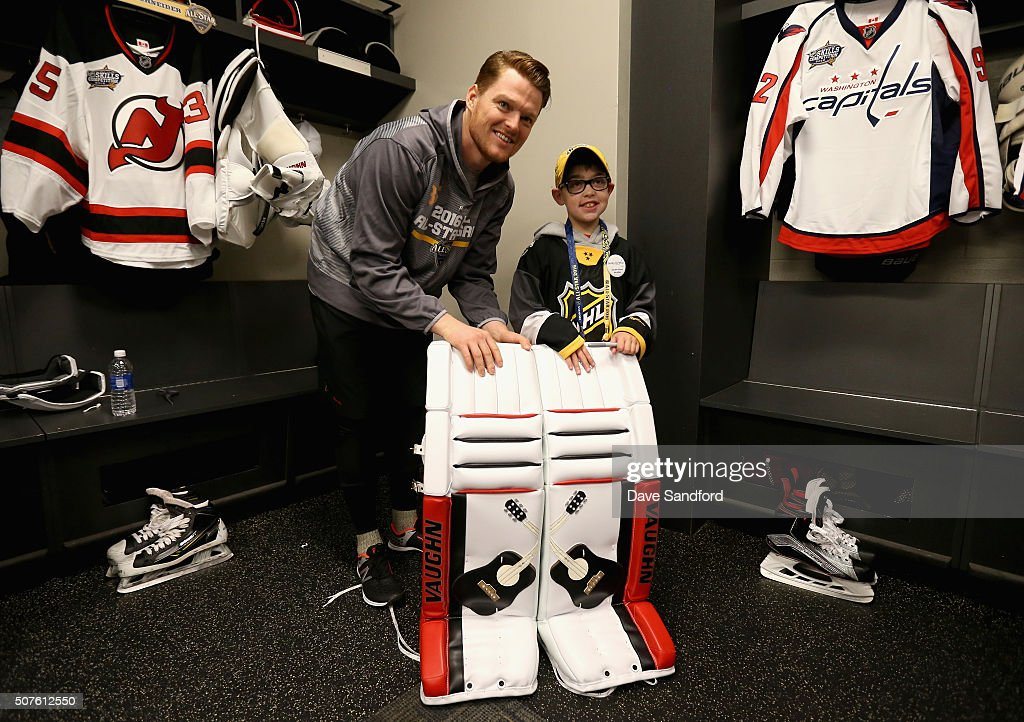 Goaltender Cory Schneider of the New Jersey Devils meets with ...