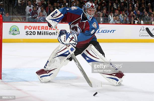 Goaltender Craig Anderson of the Colorado Avalanche clears the puck against the San Jose Sharks in game Six of the Western Conference Quarterfinals...