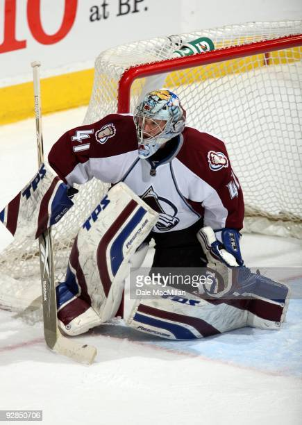 Goaltender Craig Anderson of the Colorado Avalanche defends his net against the Calgary Flames during their game on October 28 2009 at the Pengrowth...