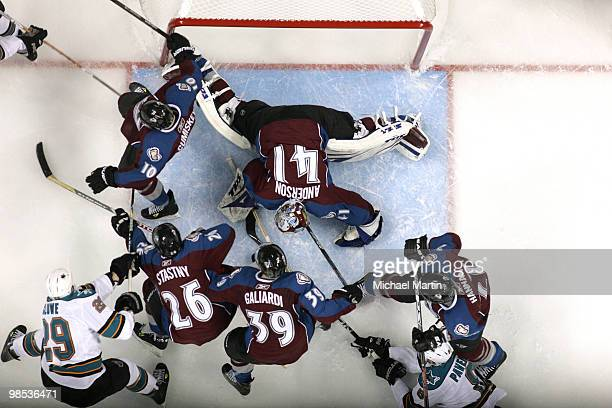 Goaltender Craig Anderson of the Colorado Avalanche sprawls across the crease against the San Jose Sharks in game Three of the Western Conference...