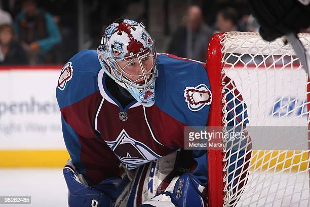 Goaltender Craig Anderson of the Colorado Avalanche stands ready against the Calgary Flames at the Pepsi Center on April 2, 2010 in Denver, Colorado....