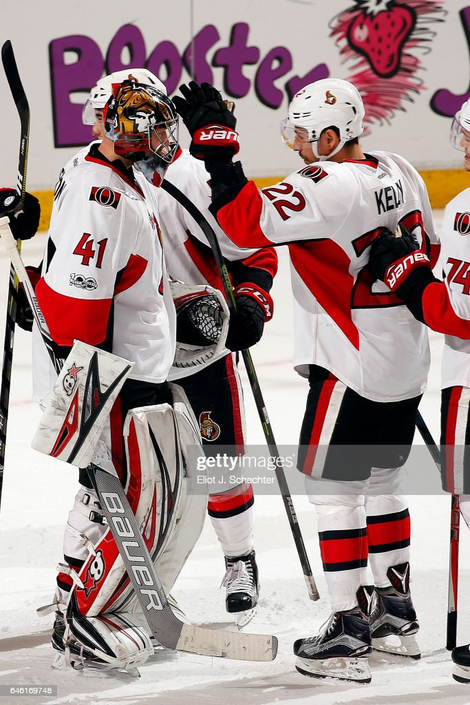 Goaltender Craig Anderson #41 of the Ottawa Senators celebrates with teammate Chris Kelly #33 their 2-1 win against the Florida Panthers at the BB&T Center on February 26, 2017 in Sunrise, Florida.
