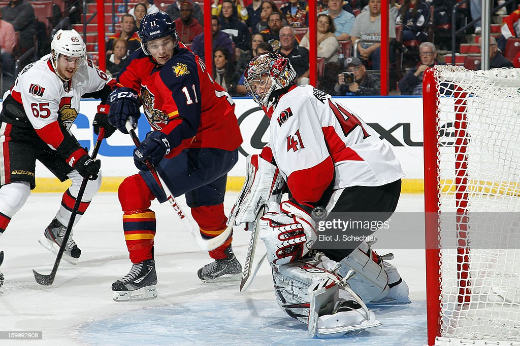 Goaltender Craig Anderson #41 of the Ottawa Senators defends the net against Jonathan Huberdeau #11 of the Florida Panthers at the BB&T Center on January 24, 2013 in Sunrise, Florida.