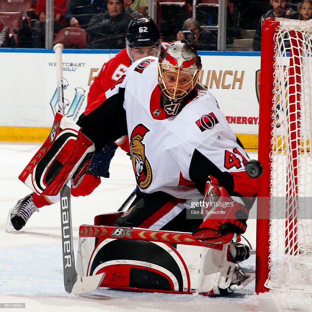 Goaltender Craig Anderson #41 of the Ottawa Senators defends the net during first period action against the Florida Panthers at the BB&T Center on March 12, 2018 in Sunrise, Florida.