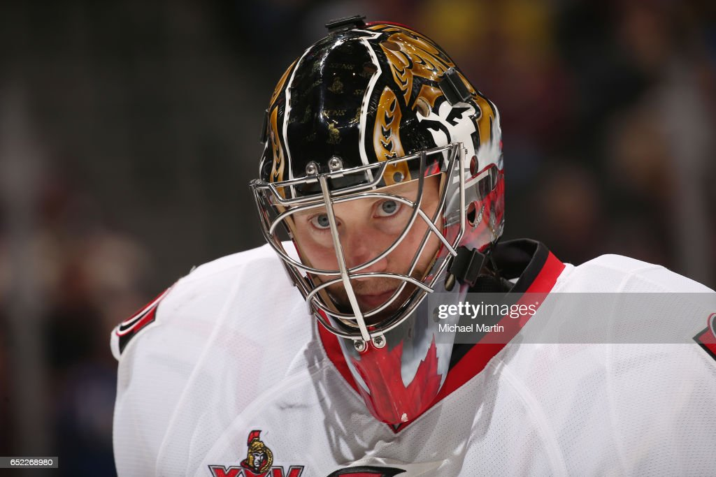 Goaltender Craig Anderson #41 of the Ottawa Senators skates during a break in the action against the Colorado Avalanche at the Pepsi Center on March 11, 2017 in Denver, Colorado. The Senators defeated the Avalanche 4-2.