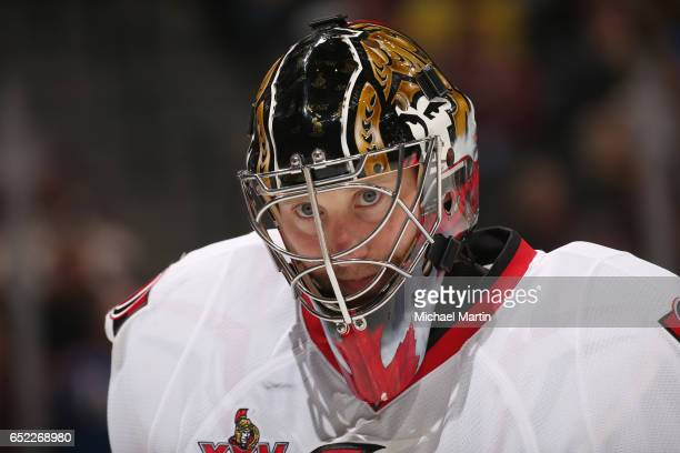 Goaltender Craig Anderson of the Ottawa Senators skates during a break in the action against the Colorado Avalanche at the Pepsi Center on March 11...