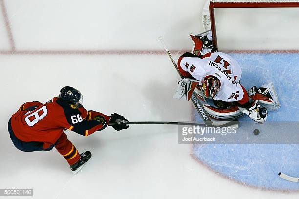 Goaltender Craig Anderson of the Ottawa Senators stops a shot by Jaromir Jagr of the Florida Panthers at the BBT Center on December 8 2015 in Sunrise...