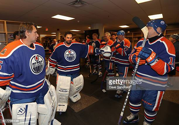 Goaltender Curtis Joseph and members of the Edmonton Oilers alumni team leave the locker room to play in the 2016 Tim Hortons NHL Heritage Classic...