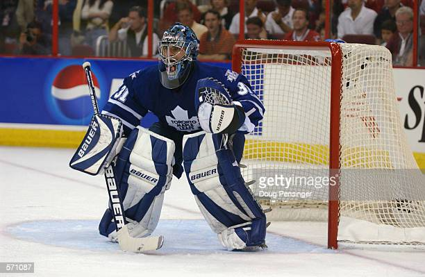 Goaltender Curtis Joseph of the Toronto Maple Leafs crouches in goal during game one of the Eastern Conference Final series of the NHL Stanley Cup...