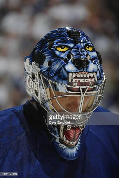 Goaltender Curtis Joseph of the Toronto Maple Leafs looks on against the Buffalo Sabres during their pre season NHL game at the Air Canada Centre on...