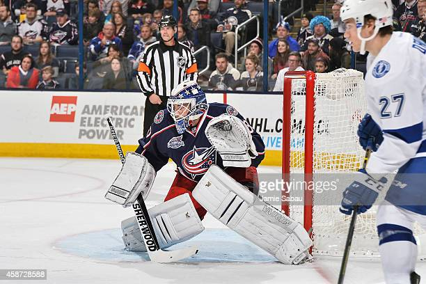 Goaltender Curtis McElhinney of the Columbus Blue Jackets defends the net against the Tampa Bay Lightning on November 8 2014 at Nationwide Arena in...