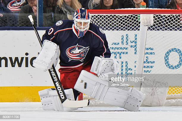 Goaltender Curtis McElhinney of the Columbus Blue Jackets defends the net against the Los Angeles Kings on December 8 2015 at Nationwide Arena in...
