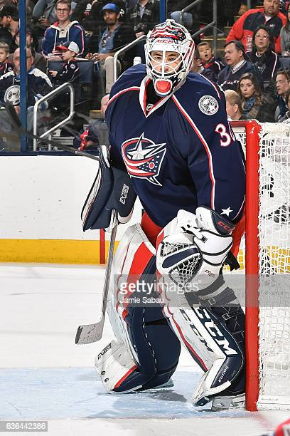 Goaltender Curtis McElhinney of the Columbus Blue Jackets defends the net against the Los Angeles Kings on December 20 2016 at Nationwide Arena in...