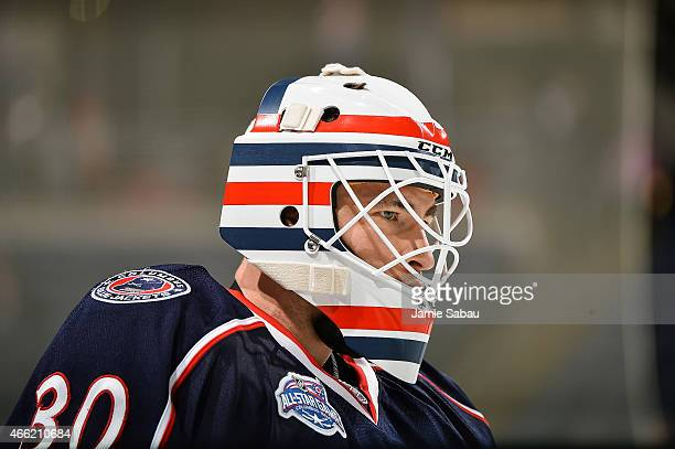 Goaltender Curtis McElhinney of the Columbus Blue Jackets warms up before a game against the Edmonton Oilers on March 13 2015 at Nationwide Arena in...