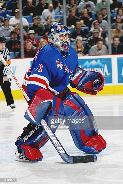 Goaltender Dan Blackburn of the New York Rangers waits for a shot against the Buffalo Sabres during the NHL game on February 15 2003 at HSBC Arena in...