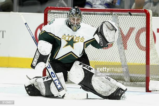 Goaltender Dan Ellis of the Dallas Stars protects the net from the Los Angeles Kings during the game at Staples Center on February 18, 2004 in Los...