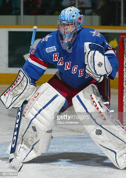 Goaltender Dan Turple of the Kitchener Rangers in action against the Peterborough Petes at Peterborough Memorial Centre on January 27 2005 in...