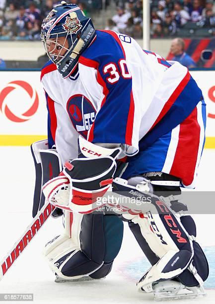 Goaltender Daniel Berthiaume of the Winnipeg Jets alumni plays in the 2016 Tim Hortons NHL Heritage Classic Alumni Game agaist the Edmonton Oilers...