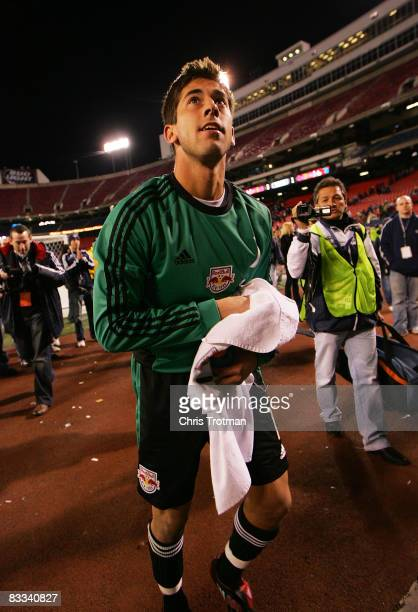Goaltender Danny Cepero of the New York Red Bulls walks off the field after defeating the Columbus Crew Cepero scored an unassisted goal in the 83rd...