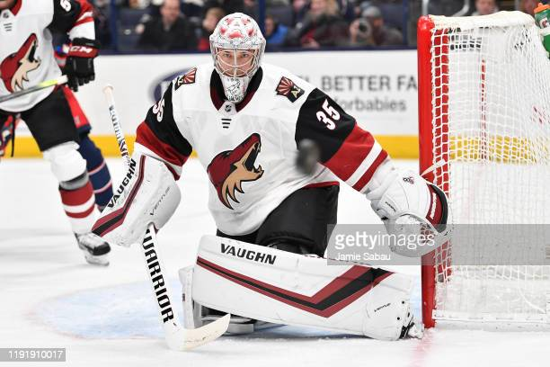 Goaltender Darcy Kuemper of the Arizona Coyotes defends the net against the Columbus Blue Jackets on December 3 2019 at Nationwide Arena in Columbus...