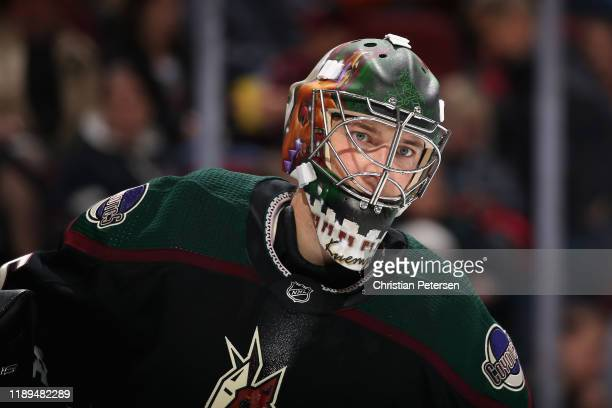 Goaltender Darcy Kuemper of the Arizona Coyotes during the NHL game against the Toronto Maple Leafs at Gila River Arena on November 21, 2019 in...