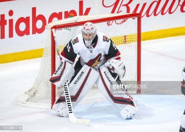 Goaltender Darcy Kuemper of the Arizona Coyotes guards the net during first period action against the Winnipeg Jets at the Bell MTS Place on March 9,...