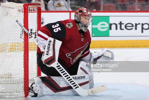 Goaltender Darcy Kuemper of the Arizona Coyotes in action during the second period of the NHL game against the Chicago Blackhawks at Gila River Arena...
