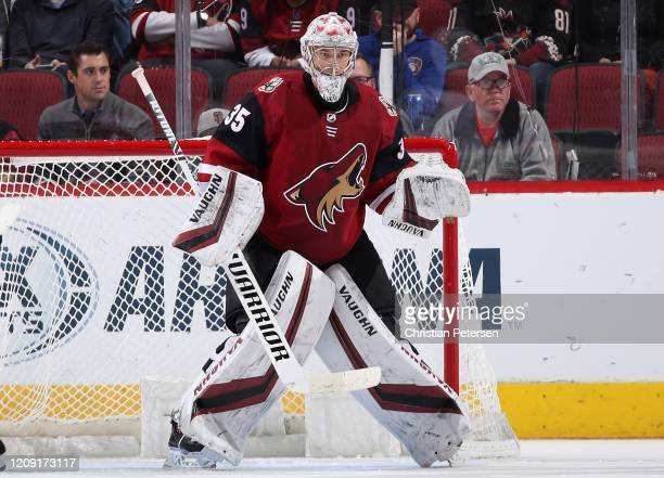 Goaltender Darcy Kuemper of the Arizona Coyotes in action during the NHL game against the Florida Panthers at Gila River Arena on February 25, 2020...