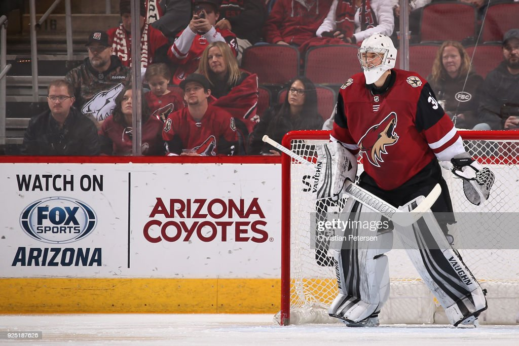 Goaltender Darcy Kuemper #35 of the Arizona Coyotes in action during the NHL game against the Vancouver Canucks at Gila River Arena on February 25, 2018 in Glendale, Arizona. The Canucks defeated the Coyotes 3-1.
