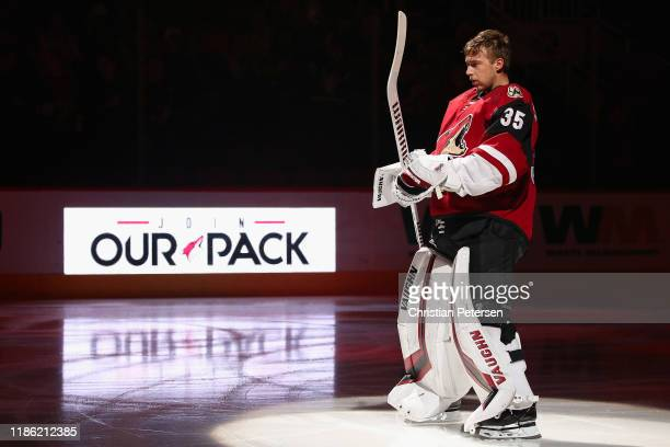 Goaltender Darcy Kuemper of the Arizona Coyotes is introduced before the NHL game against the Columbus Blue Jackets at Gila River Arena on November...