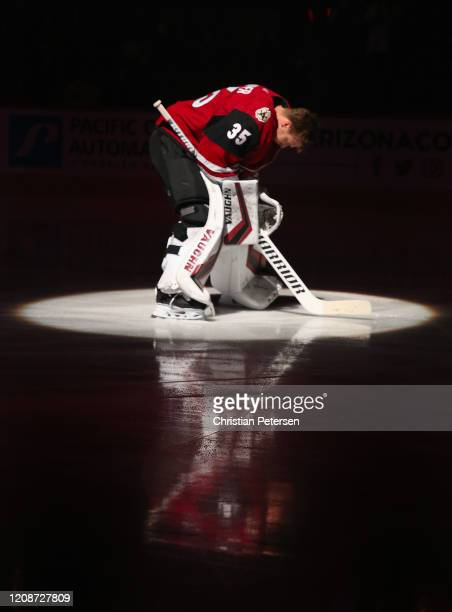 Goaltender Darcy Kuemper of the Arizona Coyotes is introduced before the NHL game against the Florida Panthers at Gila River Arena on February 25...