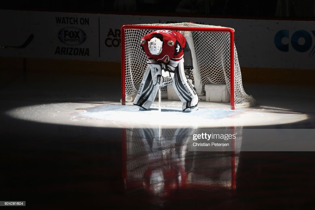 Goaltender Darcy Kuemper #35 of the Arizona Coyotes is introduced before the NHL game against the Vancouver Canucks at Gila River Arena on February 25, 2018 in Glendale, Arizona.