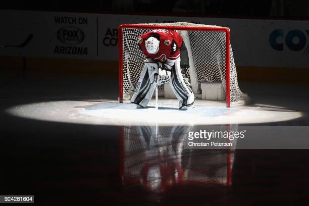 Goaltender Darcy Kuemper of the Arizona Coyotes is introduced before the NHL game against the Vancouver Canucks at Gila River Arena on February 25...
