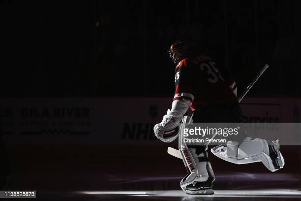 Goaltender Darcy Kuemper of the Arizona Coyotes skates out onto the ice before the NHL game against the Chicago Blackhawks at Gila River Arena on...