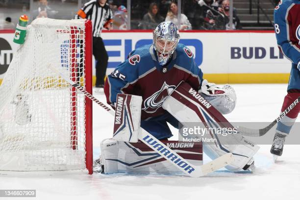 Goaltender Darcy Kuemper of the Colorado Avalanche stands ready against the Chicago Blackhawks at Ball Arena on October 13, 2021 in Denver, Colorado.