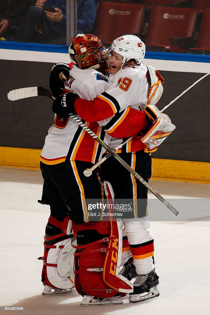 Goaltender David Rittich #33 of the Calgary Flames celebrates their win with teammate Matthew Tkachuk #19 against the Florida Panthers at the BB&T Center on January 12, 2018 in Sunrise, Florida.