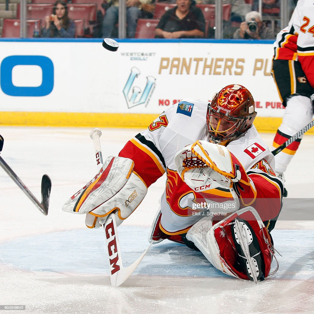 Goaltender David Rittich #33 of the Calgary Flames defends the net against the Florida Panthers at the BB&T Center on January 12, 2018 in Sunrise, Florida.
