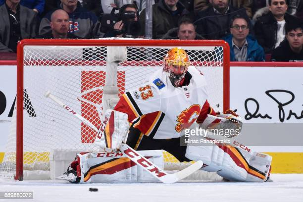 Goaltender David Rittich of the Calgary Flames protects his net against the Montreal Canadiens during the NHL game at the Bell Centre on December 7...
