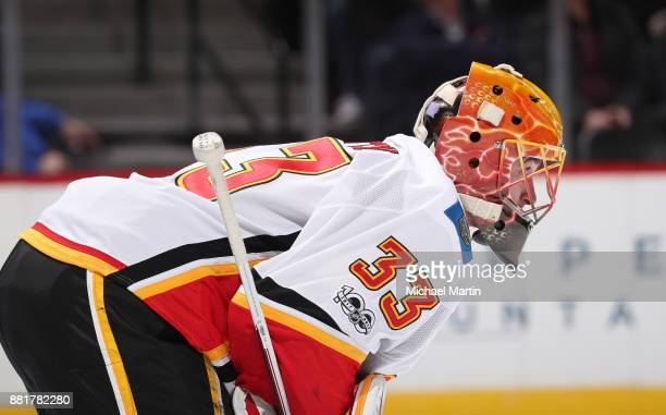 Goaltender David Rittich of the Calgary Flames stand ready against the Colorado Avalanche at the Pepsi Center on November 25 2017 in Denver Colorado...