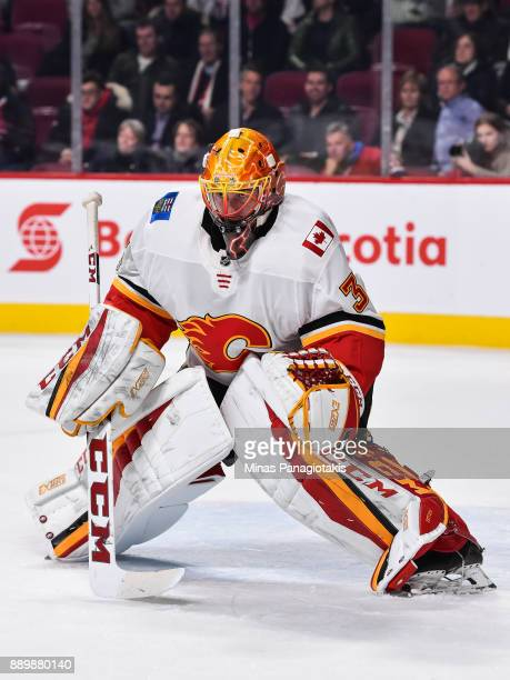 Goaltender David Rittich of the Calgary Flames takes his position against the Montreal Canadiens during the NHL game at the Bell Centre on December 7...