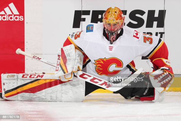 Goaltender David Rittich of the Calgary Flames warms up prior to the game against the Colorado Avalanche at the Pepsi Center on November 25 2017 in...