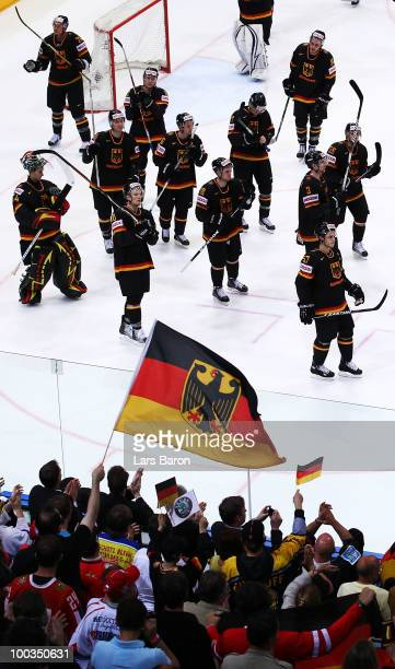 Goaltender Dennis Endras of Germany and his team mates are seen on their lap of honour after loosing the IIHF World Championship bronze medal match...