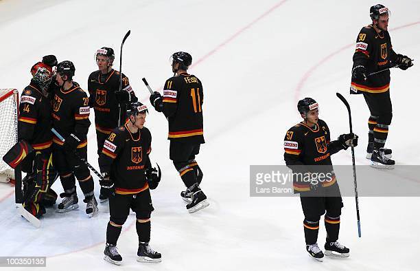 Goaltender Dennis Endras of Germany and his team mates look dejected after loosing the IIHF World Championship bronze medal match between Sweden and...