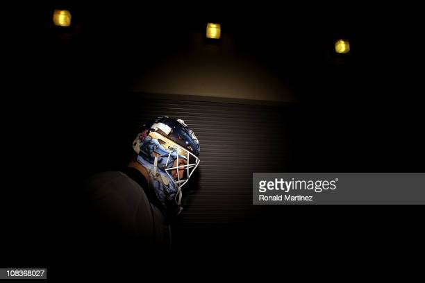 Goaltender Devan Dubnyk of the Edmonton Oilers walks to the ice before a game against the Dallas Stars at American Airlines Center on January 26 2011...