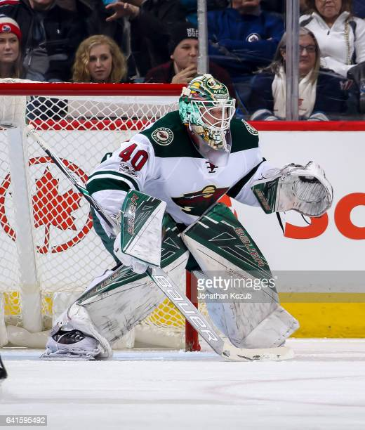 Goaltender Devan Dubnyk of the Minnesota Wild guards the net during third period action against the Winnipeg Jets at the MTS Centre on February 7...