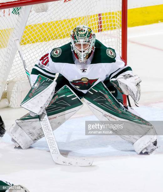 Goaltender Devan Dubnyk of the Minnesota Wild guards the net during third period action against the Winnipeg Jets at the MTS Centre on February 28...