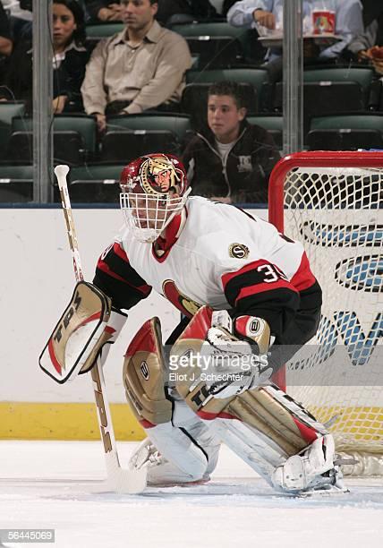 Goaltender Domimik Hasek of the Florida Panthers blocks the net during the game against the Ottawa Senators at the Bank Atlantic Center on December...