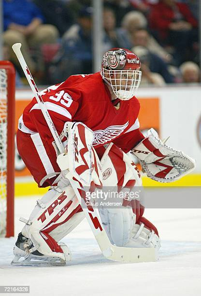 Goaltender Dominic Hasek of the Detroit Red Wings defends his net during the NHL game against the Phoenix Coyotes at Joe Louis Arena on October 11,...